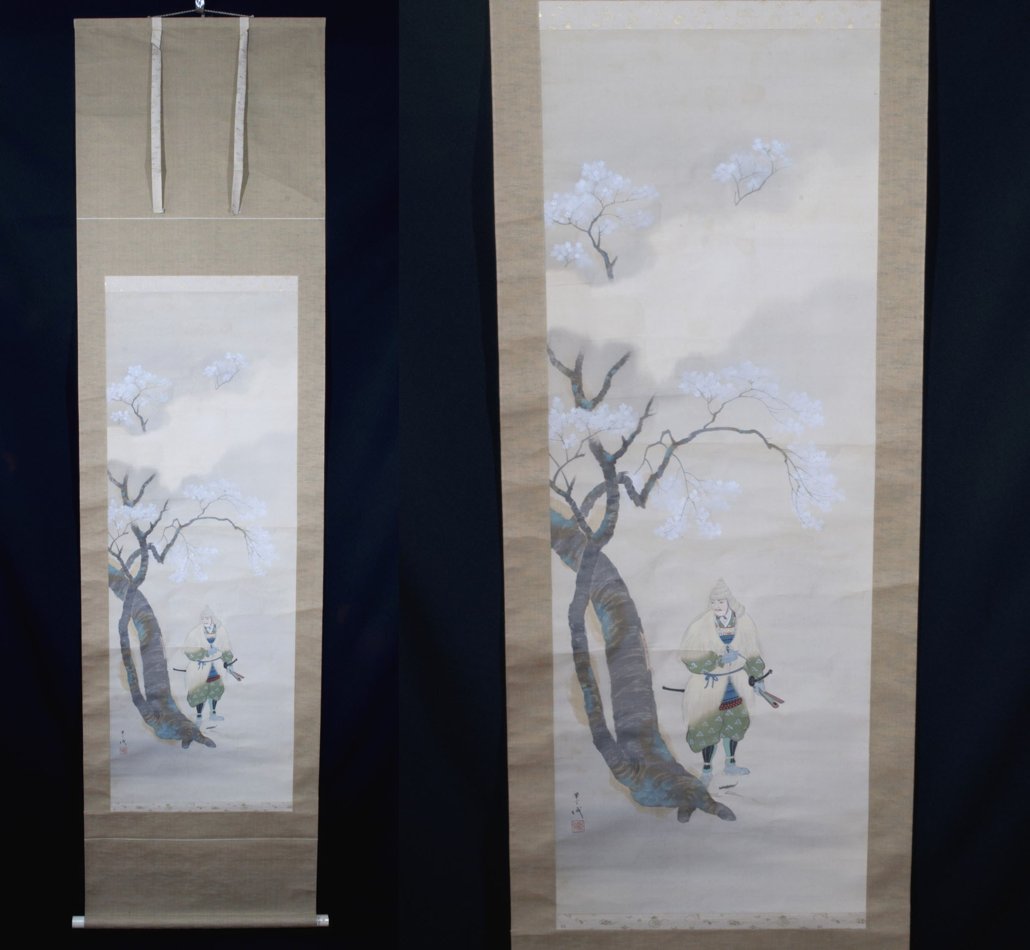 Kakejiku Kakemono Samourai et sakura parchemin japonais (1)